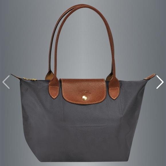 New Longchamp Small Le Pliage Tote Bag in Gunmetal 60e1e32080997