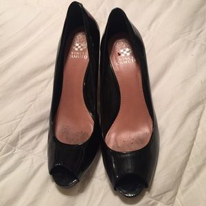 Vince Camuto Patent Black Low Heels