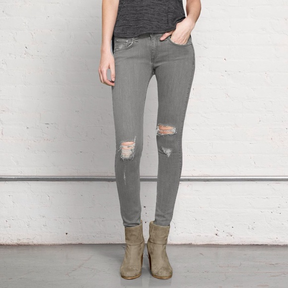 42% off rag & bone Denim - Rag & Bone Grey Destroyed Distressed ...