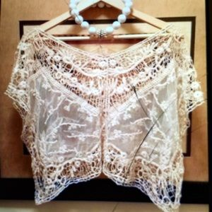 Boutique Tops - 🚫CLEARANCE🚫Vintage Beige Crochet Top- NEW