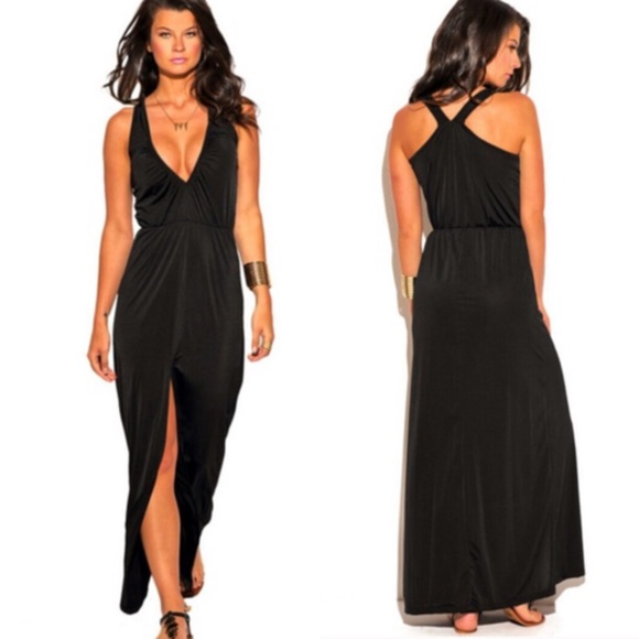 Dresses Black V Neck Slit Maxi Dress Poshmark