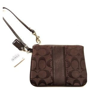 Coach Brown Legacy Signature Small Wristlet