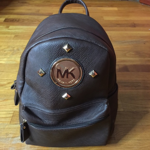 Mk Brown Leather Large BackPack 79a0f856fe195