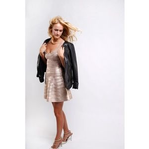 Herve Leger SZ XS champagne dress