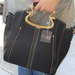 Black Elegant Metal Handle Satchel