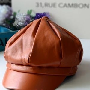 Accessories - Faux leather brown camel cap hat