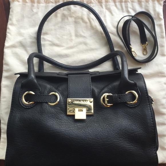 7f4b5e6218e Jimmy Choo Bags | Sold Rosalie Black Leather Tote | Poshmark