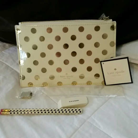newest 31417 5431a ❌HOLD for Grace❌Kate Spade Gold Dots Pencil Pouch NWT