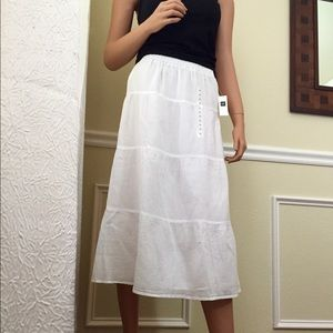 First Image - Long White 100%Cotton Skirt with Hem Accent from ...