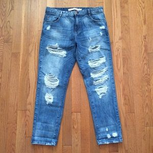 Zara Denim - Zara Distressed Straight Leg Boyfriend Jeans 4