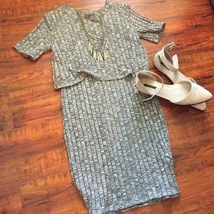 Gray ribbed midi dress
