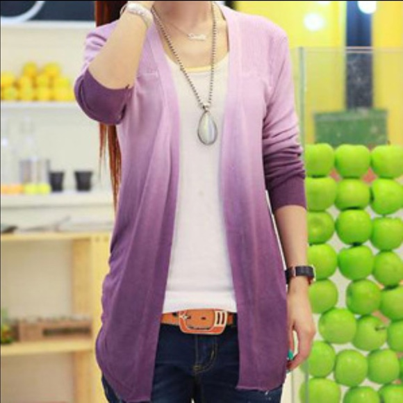 95% off Sweaters - Purple Ombré Cardigan from Stefanie's closet on ...