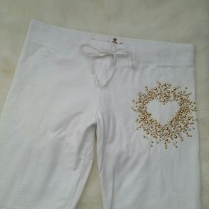 TWISTED HEART Pants - TWISTED HEART Bejeweled Heart White Sweat Pants