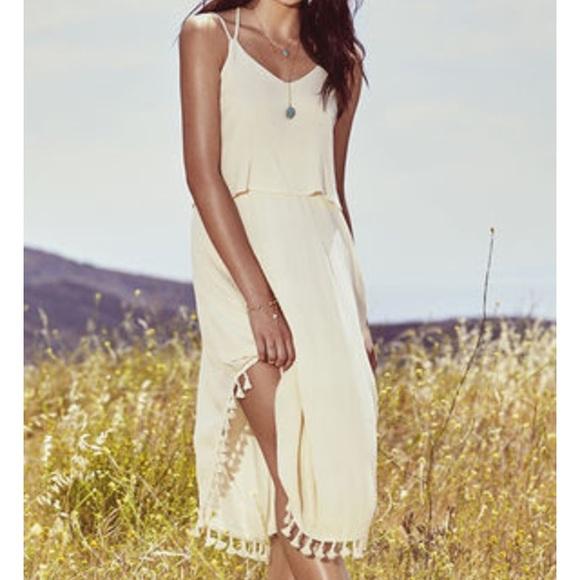 Cheap Wedding Dresses Lulu: Nwot Cream Fringe Midi Dress