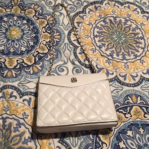 White quilted leather Crossbody purse Chanel style