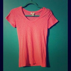 Coral tribal print v-neck