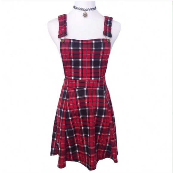 1dcf6d0bbec NWT red plaid overall dress. M_55a71cc9a3a01f35b5001a07