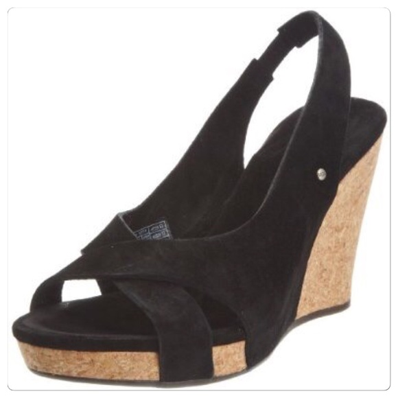 cf1ff57a1bf ♣️ UGG wedge heels shoes black /cork hazel 7 boots