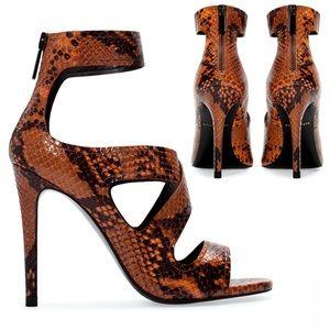 Zara Brown Snakeskin Heels