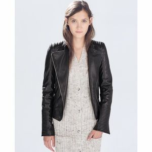 NWOT Zara Faux Leather Quilted Biker Jacket