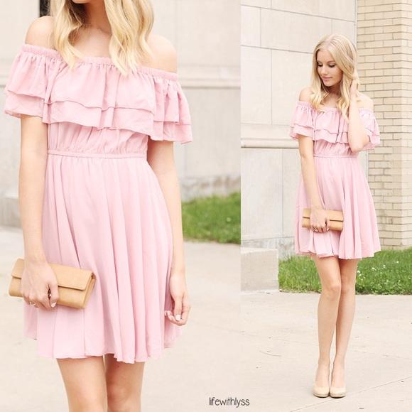2ff84af063ee Endless Off-shoulder Dress in Pastel Pink