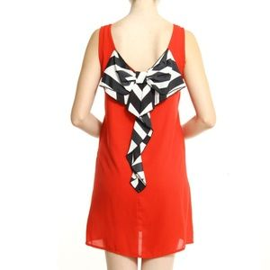 Dresses & Skirts - Solid Red Dress With Bow Back