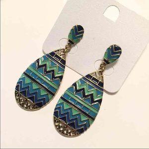 Blue/green zig zag earrings