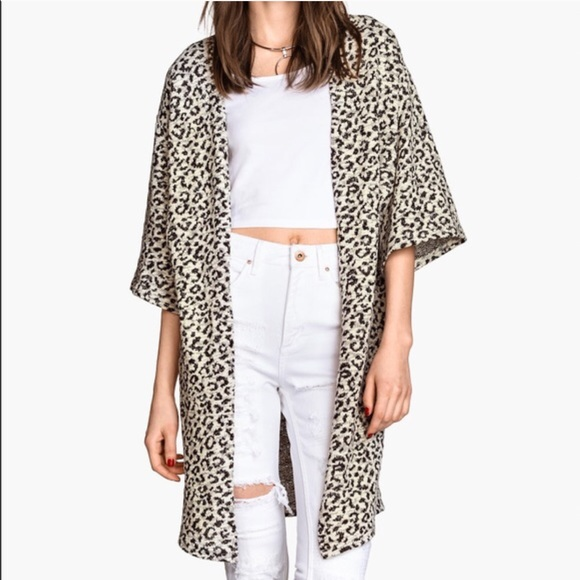 52% off H&M Sweaters - H&M | Leopard Animal Print Melange Cardigan ...