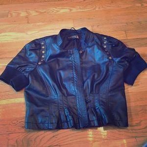 Faux Leather Half Jacket