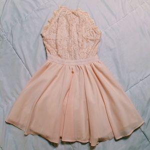 Halter Open Back Lace Chiffon Dress