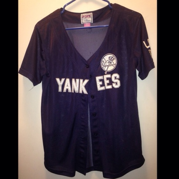 1dd6a03ab1 VS Pink New York Yankees Baseball Jersey! M 55a7ee36077e191d2300474d