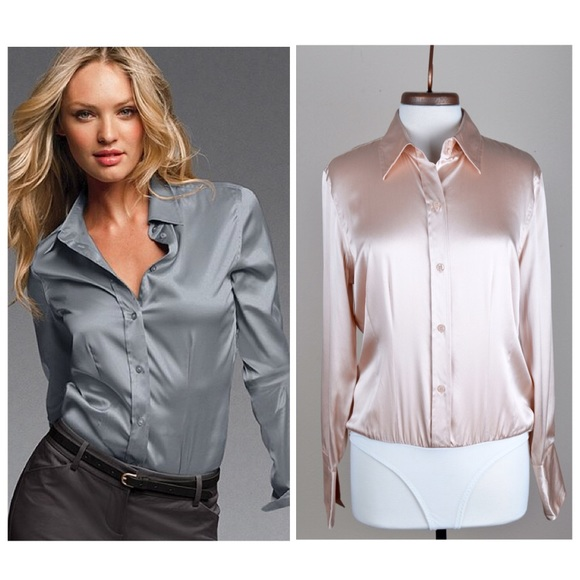 4092a77d6 Victoria's Secret Tops | Moda Int Vs Silk Buttonup Blouse Bodysuit L ...