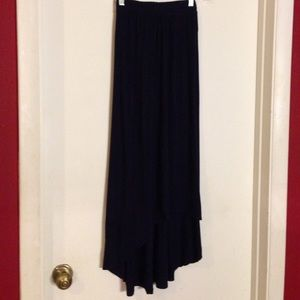 Navy knit hi lo maxi skirt