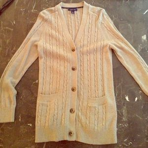 Lands end beige cardigan