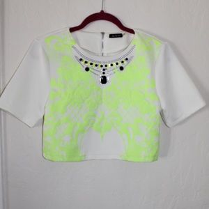White embellish crop top w/ neon green detailing