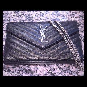 86% off Saint Laurent Handbags - YSL Red Monogram Compact Leather ...