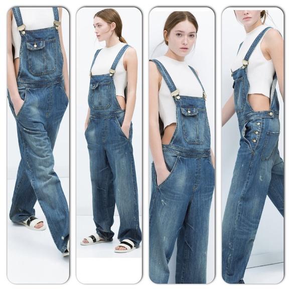 da9c7916c4bd94 Zara Pants | Available Soon Wide Leg Dungarees Size S | Poshmark