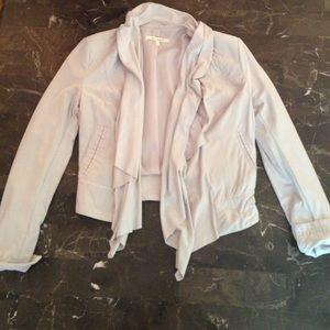 Suede open front blazer