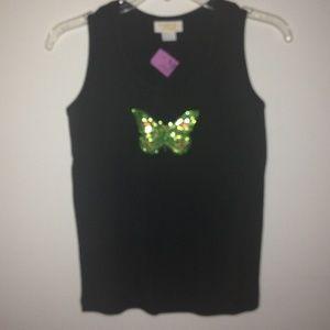TIA Designs Tops - JET BLACK TANK w/Multi GREEN BUTTERFLY DESIGN