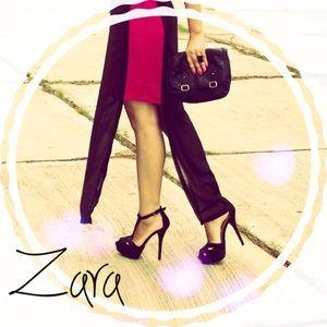 Zara black ankle strap heel