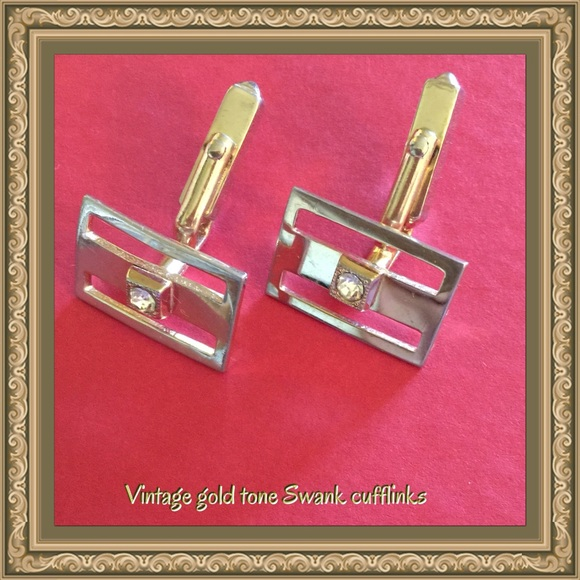 Vintage vintage swank gold tone cufflinks from diana 39 s for What is swank jewelry