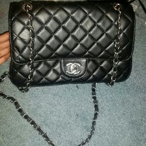 Black and silver quilted crossbody
