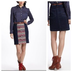 Anthro Holding Horses denim skirt