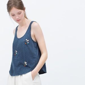Zara Tops - Zara TRF Jewelled Shirt