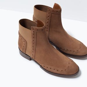 Zara Boots - Zara Brogue Leather Ankle Chelsea Boots