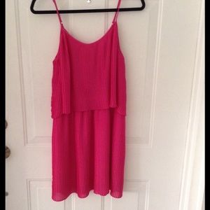  Parker bright pink pleaded dress