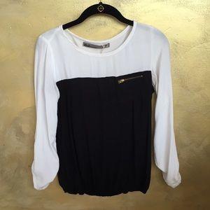 Bershka black and white blouse