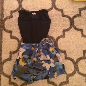 Navy blue with flower pattern romper