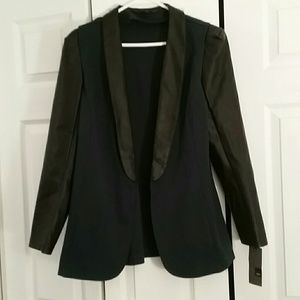 Hunter green and faux leather blazer