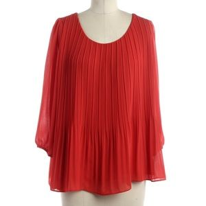 Anthropologie Red Pleated Georgette Swing Top New